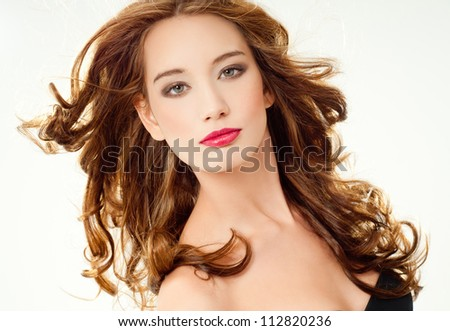 beautiful woman with perfect curls