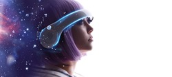 Beautiful woman with purple hair in futuristic costume over white background. Girl in glasses of virtual reality. Augmented reality, game, future technology, AI concept. VR. Blue, violet neon light.