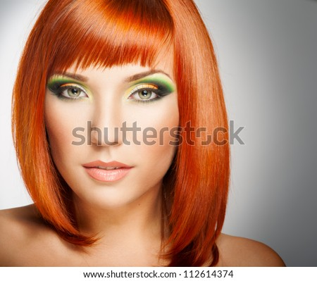 Red Hair And Bright Makeup