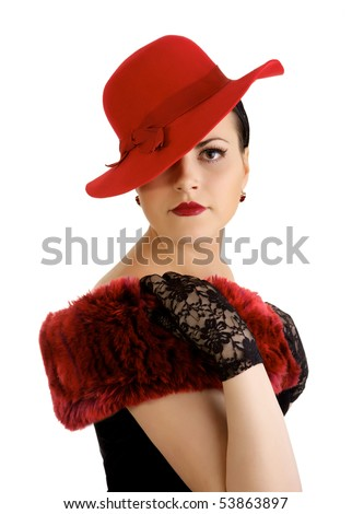 Beautiful woman with red hat - stock photo