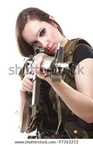 Military Army girl Holding Gun white isolated background - stock ...