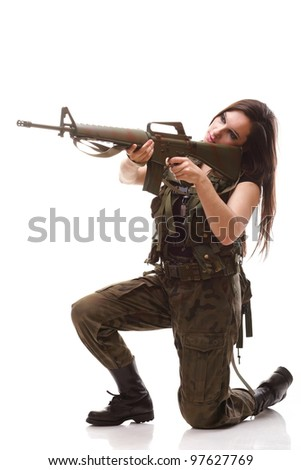 Beautiful woman with rifle plastic Military Army girl Holding Gun ...