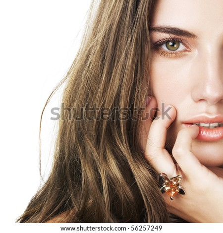 beautiful woman with ring - stock photo
