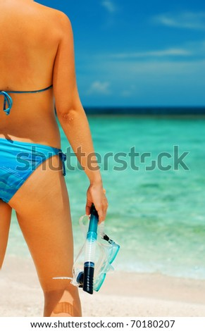 Beautiful woman with snorkeling equipment.