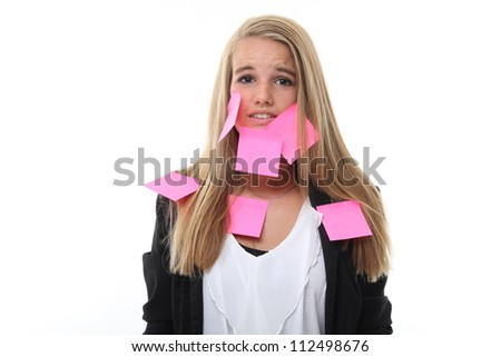 Beautiful woman with stress and post it papers