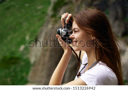 beautiful woman with stylish stylish camera