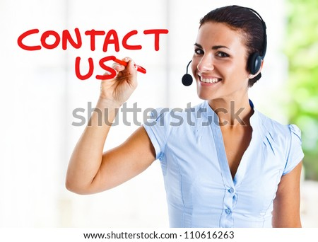 Beautiful woman writing Contact