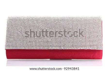 beautiful women clutch bag isolated on white - stock photo