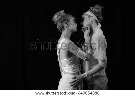 Beautiful women couple in love