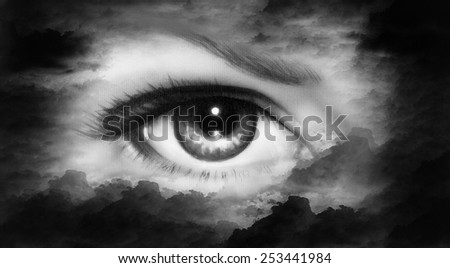 beautiful women eye painting in cloud sky effect black and white retro style