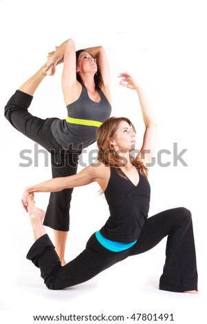 beautiful women in a yoga pose on a white background