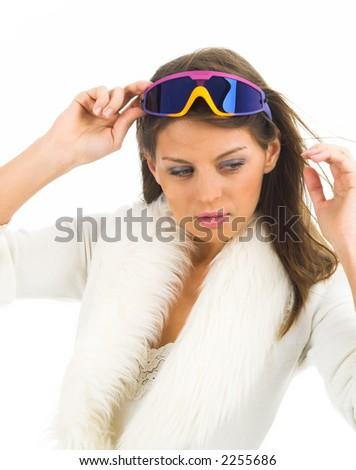 Beautiful women in goggles