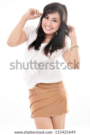 beautiful women in sexy casual dress, isolated on white background