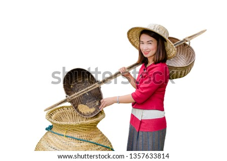 Beautiful women in Thai dress carry basket on shoulder isolated on white background with clipping path #1357633814