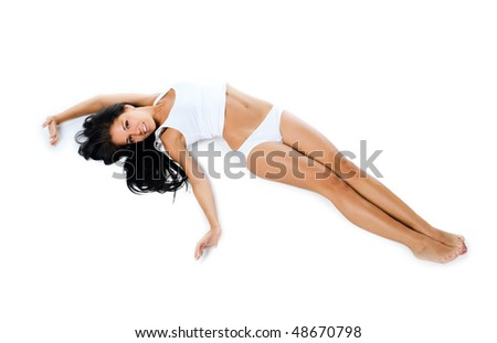 Beautiful women lie. Isolaed on a white background