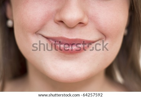 Beautiful women lips closeup. Emotion on his face.