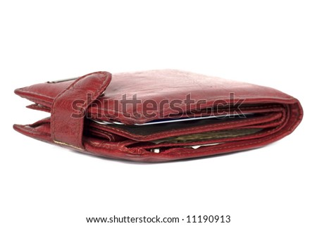 Beautiful women's Red wallet isolated on white