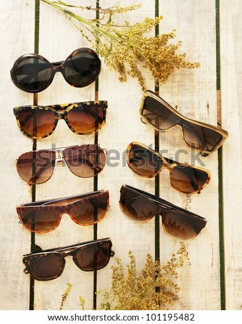 beautiful women sunglasses in a a palette of wood with branches