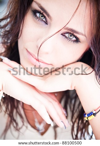 beautiful women with make-up an manicure