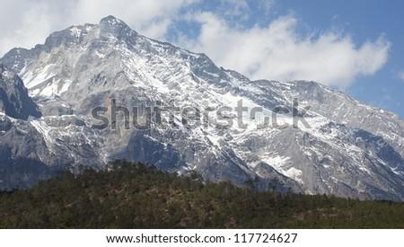 beautiful wonderful snow mountain landscape Mount Yulong or Jade Dragon snow mountains