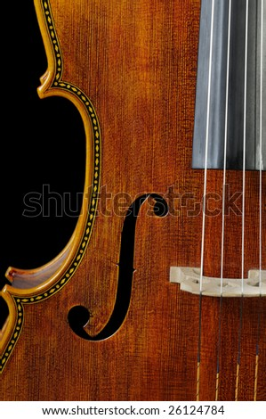 beautiful  wood on a cello over a black background