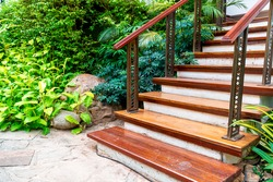 beautiful wood stair step decoration in garden