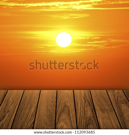 Beautiful wooden balcony when orange sunset