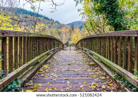 Beautiful wooden bridge over the river Fluvia (at Castellfollit de la Roca village, Catalonia, Spain). #521082424