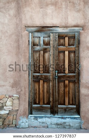 Beautiful wooden door in Santa Fe historic center, New Mexico
