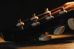 Beautiful Wooden Guitar Headstock and Tuning-Pegs