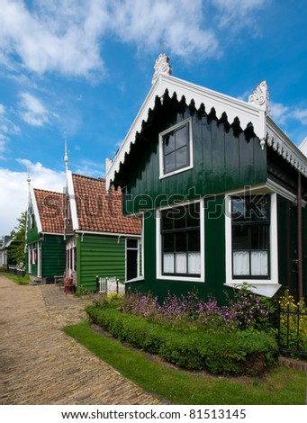 beautiful wooden houses in the Zaanse Schans, north of amsterdam