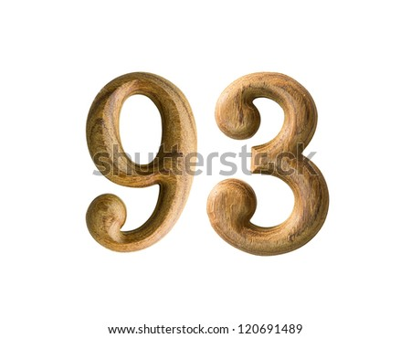 Beautiful wooden numeric isolated on white background - stock photo
