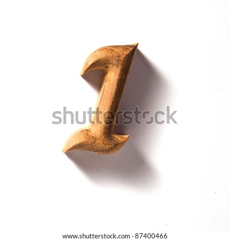 Beautiful wooden numeric with shadow isolated