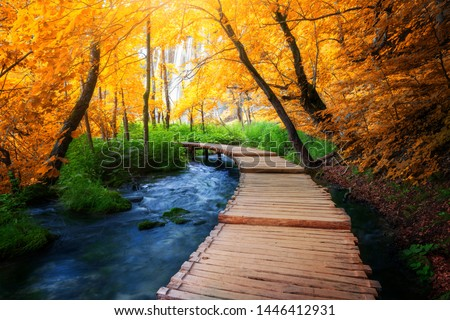 Beautiful wooden path trail for nature trekking with lakes and waterfall landscape in Plitvice Lakes National Park, UNESCO natural world heritage and famous travel destination of Croatia.