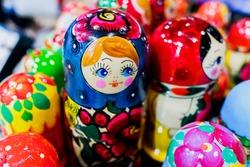 Beautiful wooden Russian-style matryoshka dolls.