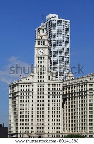 Beautiful Wrigley Building in downtown Chicago with art deco design and architecture