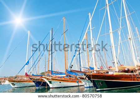 Beautiful yachts at coast Aegean sea.