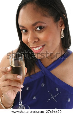 Beautiful 27 year old African American woman in blue formal dress with glass of champagne.