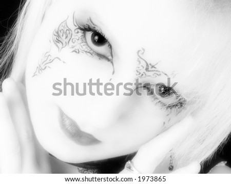 stock photo : Beautiful 17 year old German Teen Girl in black and white.