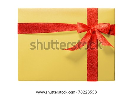 Beautiful yellow gift box with red ribbon isolated on white background
