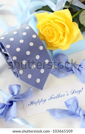 Beautiful yellow rose and tie for father's day