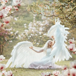Beautiful yound woman with giant white angel wings posing in blooming magnolia garden.