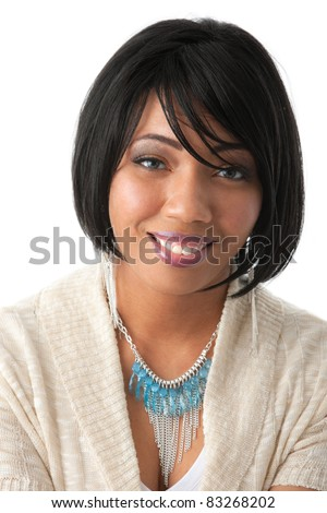 Beautiful Young African American Female Headshot with Smiling Expression