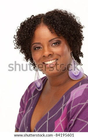 Beautiful Young African American Woman Portrait Isolated on White Background - stock photo