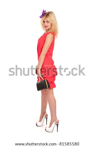 Beautiful young and sexy woman isolated on white - stock photo