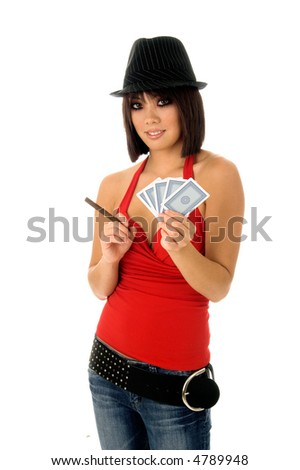Beautiful young Asian card shark in a red top and fedora smoking a cigar and holding a hand of cards