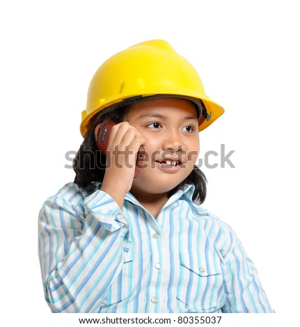 beautiful young asian girl acting as future engineer and business woman