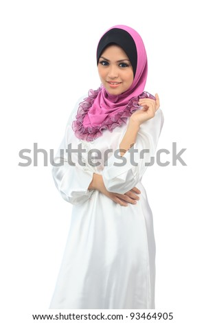 Beautiful young asian muslim smile isolated white background