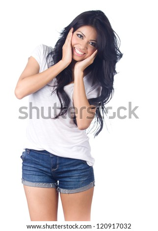 Beautiful young  asian woman in blue short jeans on white background