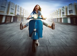 Beautiful young asian woman riding a motorcycle and lift both legs amid the city